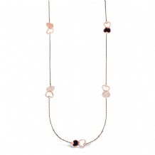 Rose Gold Plated Necklace with Black Czech Crystal Stones
